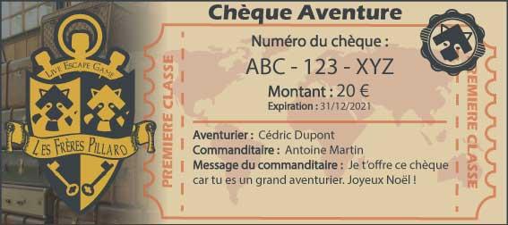 chèque aventure - les frères pillard - escape game valenciennes