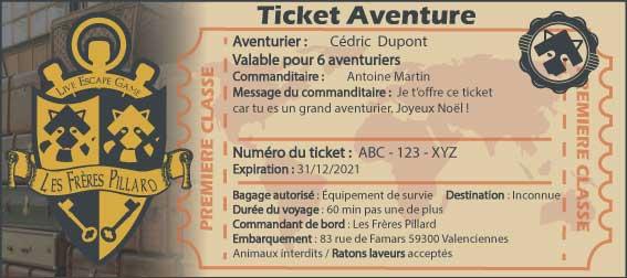 Ticket aventure les frères pillard - escape game valenciennes